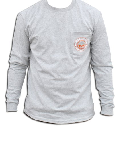 Harley-Davidson Mens Willie G Skull Pocket Grey Long Sleeve T-Shirt (XX-Large)