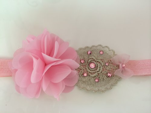 Vintage Lace Headband With Pom Pom Fabric Added Swarovski Rhinestones (12 And Up, Gold/Yellow) front-1070364