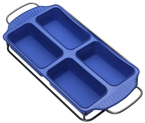 Roshco Silicone Four In One Loaf Pan with Sled, Blue - Buy Roshco Silicone Four In One Loaf Pan with Sled, Blue - Purchase Roshco Silicone Four In One Loaf Pan with Sled, Blue (Lifetime Brands, Home & Garden, Categories, Kitchen & Dining, Cookware & Baking, Baking, Bread & Loaf Pans, Loaf Pans)