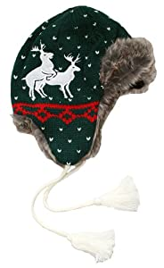 Humping Reindeer Games Knitted Christmas Aviator Hat in Green - Naughty & Funny