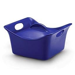 Rachael Ray Stoneware 3.5-Quart Covered Square Cassersquare Casserole, Blue