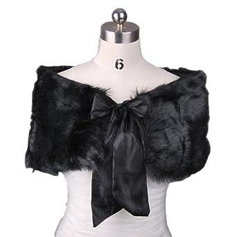 Oversize Bow Details Faux Fur Bridal Cape Wrap,Black