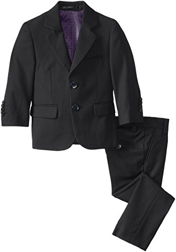 Isaac Mizrahi Black Label Little Boys' Slim Little Fit Wool Solid 2 Piece Suit, Black, 2