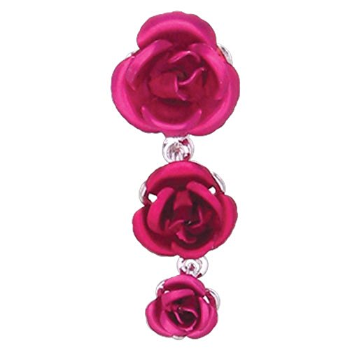 Triple Red Rose Dangle Belly Button Ring (Cheap Dangle Belly Button Rings compare prices)