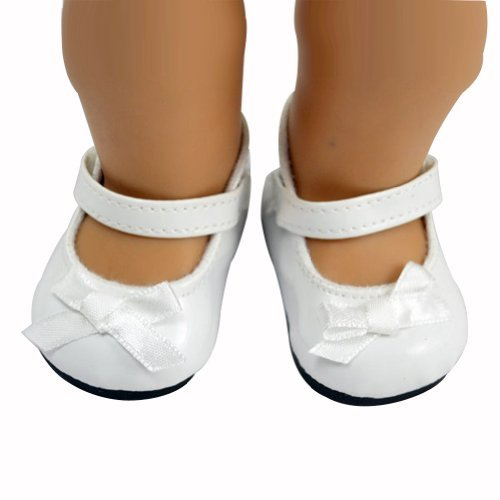 Ebuddy White Bowtie Style Shoes Boots Fits 18 Inch Doll - 1