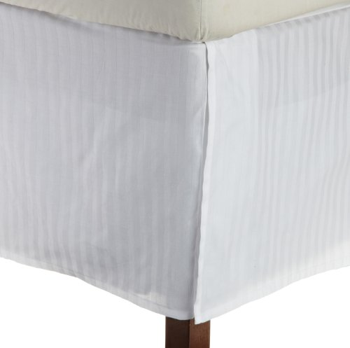 Impressions 1500 Series Wrinkle Resistant Pleated King Bed Skirt Stripe, White front-477172