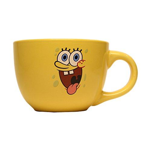 Silver Buffalo SG1724 Nickelodeon SpongeBob Tongue Ceramic Soup Mug, 24 oz, Yellow (Spongebob Coffee Cup compare prices)