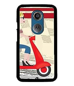 Fuson Scooter Girl Back Case Cover for MOTOROLA MOTO X2 - D3768
