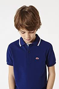 Boy's Short Sleeve Tri-color Tipped Collar Pique Polo
