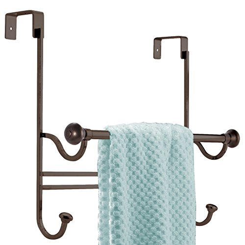 mDesign Bathroom Over Shower Door Towel Bar Rack with Hooks - Bronze