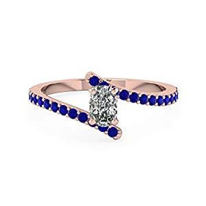 0.65 Ct Cushion Cut Diamond & Blue Sapphire Pave Wedding Ring 14K GIA Certified (I Color, VVS1 Clarity)