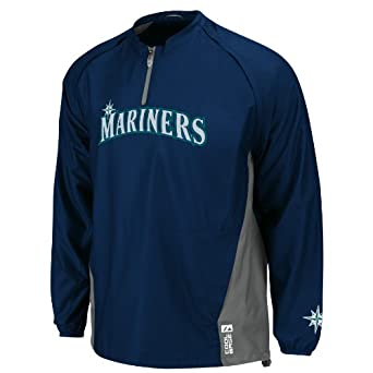 MLB Seattle Mariners Long Sleeve Lightweight 1 4 Zip Gamer Jacket, Navy Silver by Majestic