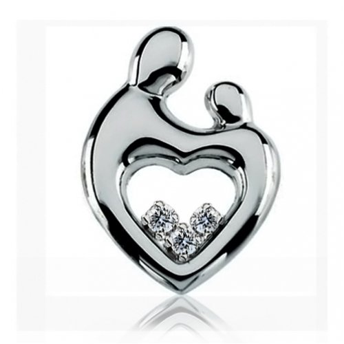 Bling Jewelry Sterling Silver Mother Child Pendant with CZs