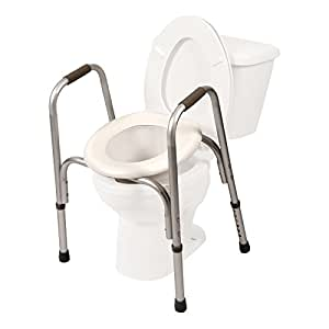 Amazon Com Raised Toilet Seat W Safety Frame Two In One