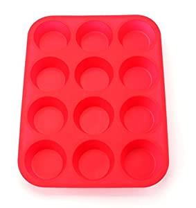 Bekith 12 Cup Large Silicone Muffin Pans & Cupcake Baking Pan / Non - Stick / Dishwasher - Microwave Safe, Set of 2