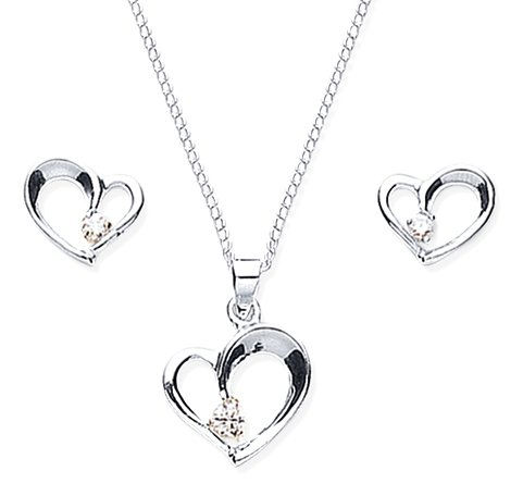 Chic Silver Cubic Zirconia Heart Shaped Pendant and Earring Set with 46cm Chain