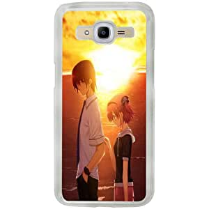 Casotec Girl Boy Sunset Sea Design 2D Printed Hard Back Case Cover for Samsung Galaxy J2 (2016) - Clear