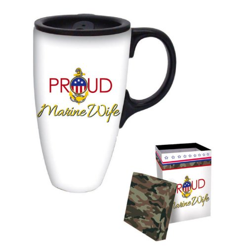 Proud Marine Wife Boxed Ceramic Latte Travel Mug 17oz