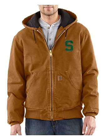 NCAA Michigan State Spartans Mens Quilted Flannel Lined Sandstone Active Jacket by Carhartt