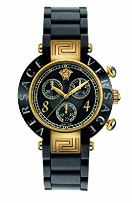 Versace Women's 92CCP9D008 S009 Reve Ceramic Bezel Gold Ion-Plating Chronograph Black Rubber Watch