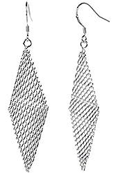 ANDI ROSE Fashion Bohemia Jewelry Rhombus Shape 925 Sterling Silver Plated Earrings for Women Girls (Silver-II)