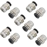 "10 Pcs 1/4"" PT Male Thread 6mm Push In Joint Pneumatic Connector Quick Fittings"