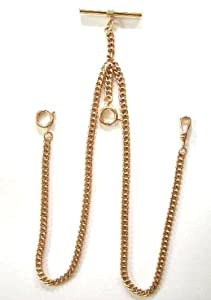 #148-2 14K GF Double Albert Watch Chain--New Stock--Made in USA