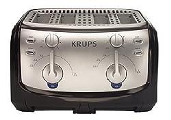 Krups FEM4B 4-Slice Toaster, Black