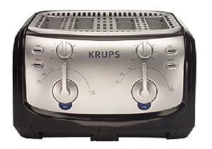 Krups FEM4B Toaster, 4-Slice, Black