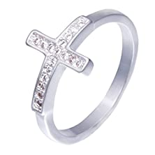 buy Lnf Unique Engagement Rings Cross Symbol Flexible Stretch Silver Ring,Adjustable Size (8)