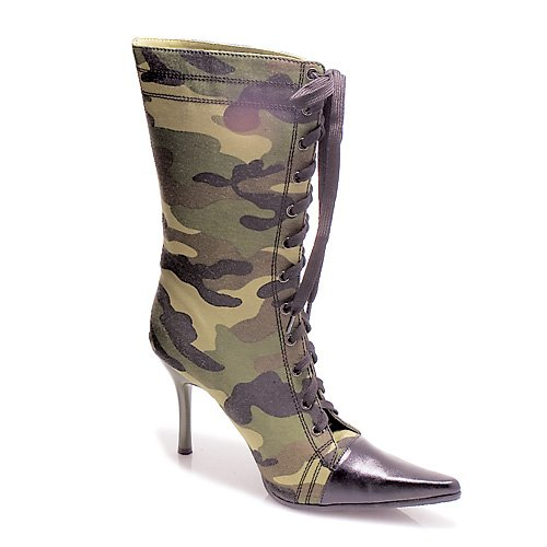 4.5 Inch Sexy Mid Calf Boots Womens High Heel Boots Pointed To Lace Up Green Camo Boot Camouflage Size: 9