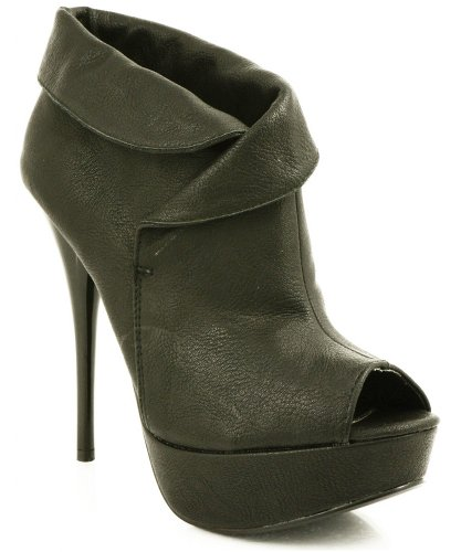 Qupid Neutral-60 Cuffed Peep Toe Bootie BLACK