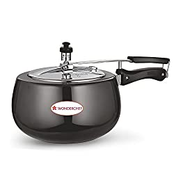 Wonderchef Raven Hard Anodized Pressure Cooker with Inner Stainless Steel Lid Set, 2 Litres, 2-Pieces