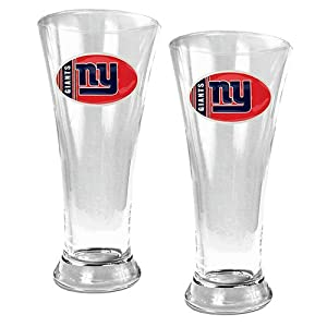 NFL New York Giants Two Piece 19-Ounce Pilsner Glass Set by Great American Products