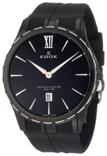 Edox Men's 27033 357N NIN Grand Ocean Black Ion-Plating Case Black Rubber Date Watch