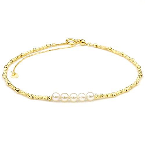 nadi K18YG 3.5-4.0mm ベビーパール ゴールド ステーションブレスレット アコヤ真珠 約22m 18K Yellow Gold Beby Akoya Cultured Pearl Bracelet
