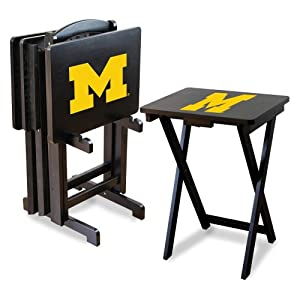 NCAA Michigan Wolverines TV Snack Trays with Storage Rack (Set of 4) by Imperial