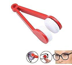 KARP Mini Microfiber Glasses Sun Glasses Eyeglasses Cleaner Cloth Cleaning Clip (Red)