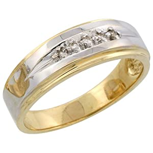 14k Gold Men's Diamond Band w/ Rhodium Accent, w/ 0.08 Carat Brilliant Cut Diamonds, 1/4 in. (7mm) wide, Size 14