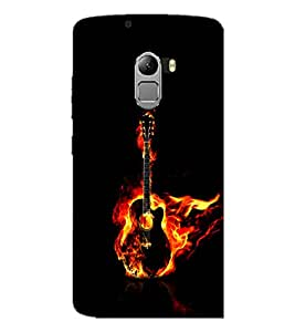 PrintDhaba Guitar on Fire D-1242 Back Case Cover for LENOVO K4 NOTE A7010 (Multi-Coloured)