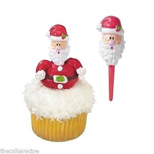 Amazon.com: 12xPlastic Santa Picks for Christmas Cake ...