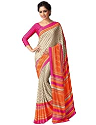 AG Lifestyle Women's Silk Saree(SD109, Beige & Orange)