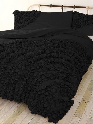 500 Tc 3 Pc Corner Ruffle Duvet Set In Queen Solid Black By Jay'S Home Goods front-1025371