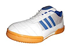 Port Mens Smash White PU Badminton Shoes for men (Size 9 ind/uk)