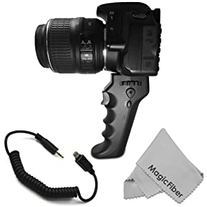 Camera Pistol Grip with Trigger for Shutter Release (RM-UC1 Replacement) - Compatible with Olympus E-M1, E-M5, E-P3, E-P5, E-PL3, E-PL5, E-PM1, E-PM2, SH-21, SH-25MR, SH-50, SP-620UZ, SP-720UZ, SP-820UZ, SZ-14, SZ-31MR, XZ-1, XZ-2, E-400, E-410, E510, E-P1, E-P2, E-PL2, SP-565UZ, SP-570UZ, SP-590UZ, SP-610UZ, SZ-10, SZ-11, SZ-20, SZ-30 Cameras + MagicFiber Microfiber Lens Cleaning Cloth