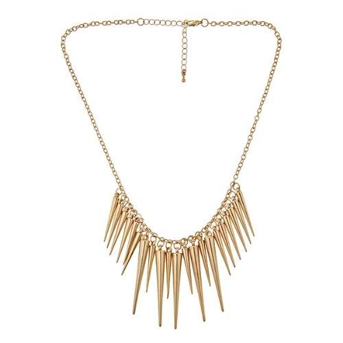 Rock Fashion Collar Bib Gold Spikes Choker Necklace