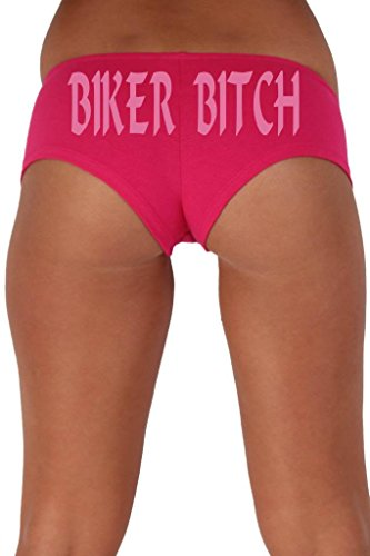 [Women's Juniors Pink Biker Bitch Booty Shorts: HOT PINK SMALL] (Biker Babe Costume)