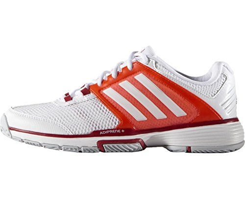adidas Barricade Team 4 Ladies Tennis Shoes, White/Red, US5.5