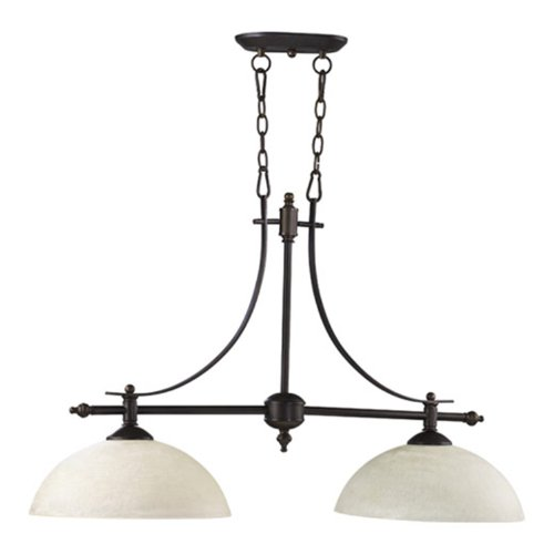 Quorum International 6577-2-86 Aspen Collection 2-Light Island Fixtures, Oiled Bronze Finish with Linen Glass Shades