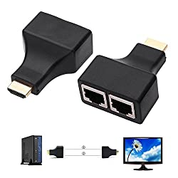 Andoer 30M HDMI Dual RJ45 CAT5E CAT6 1080P HDMI Network Cable Extender Repeater for HDTV HDPC PS3 STB
